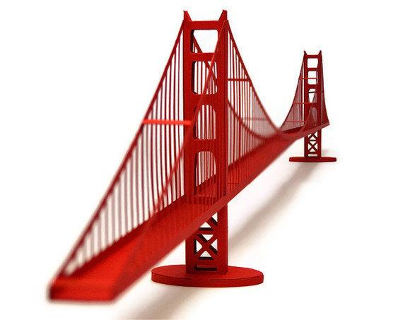Golden Gate Bridge Paper Model KIT by Paperlandmarks on Etsy, 16.00