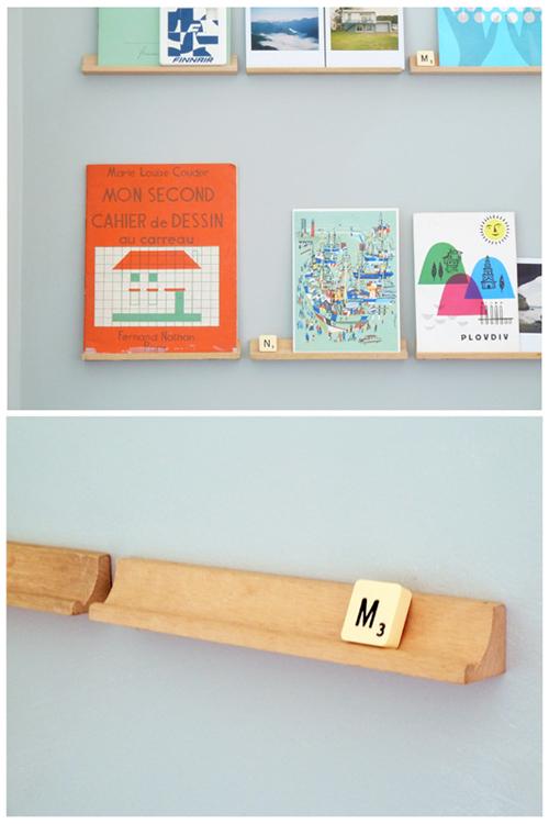 scrabble racks as art shelves