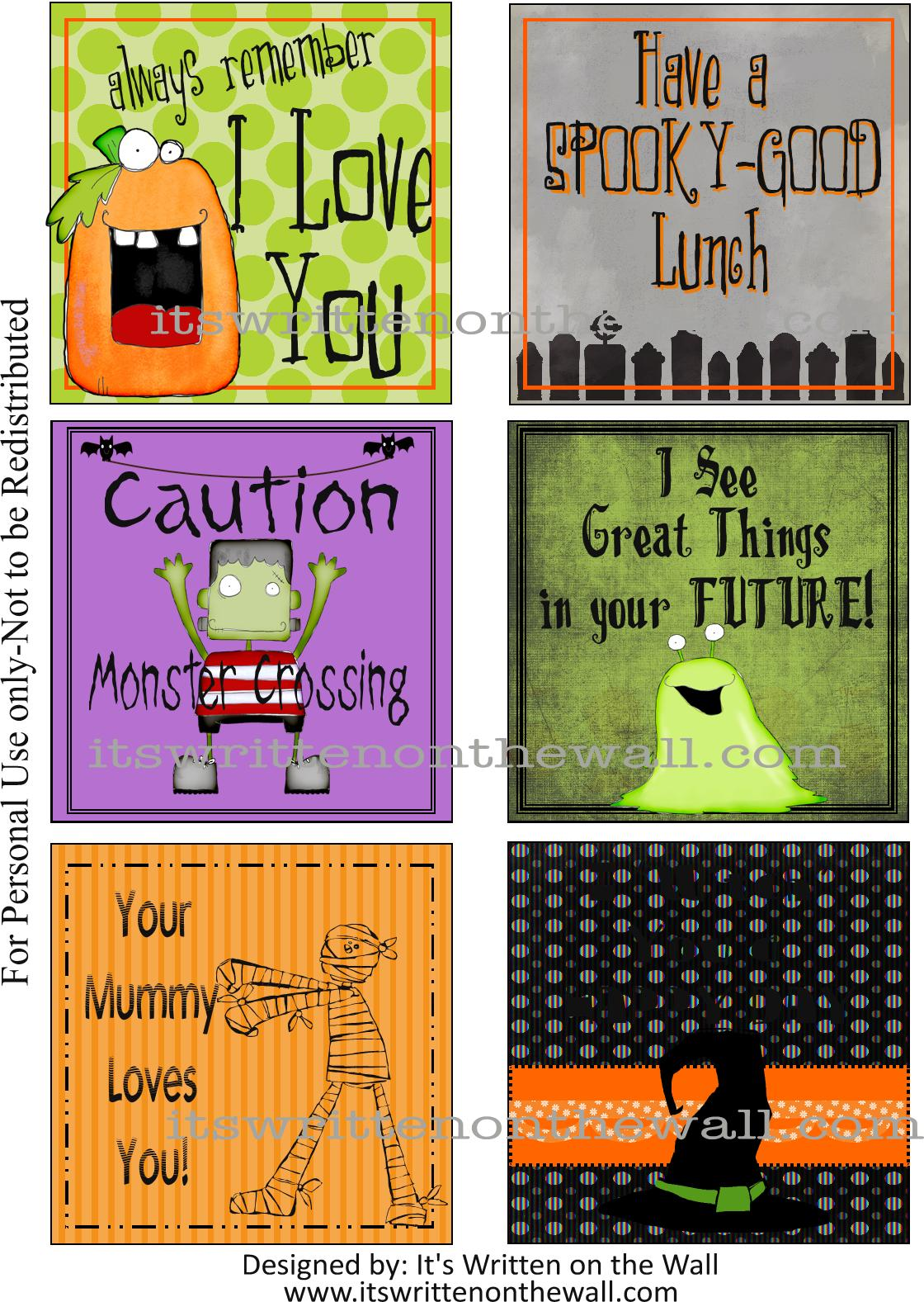 24 Halloween Lunchbox Notes!!