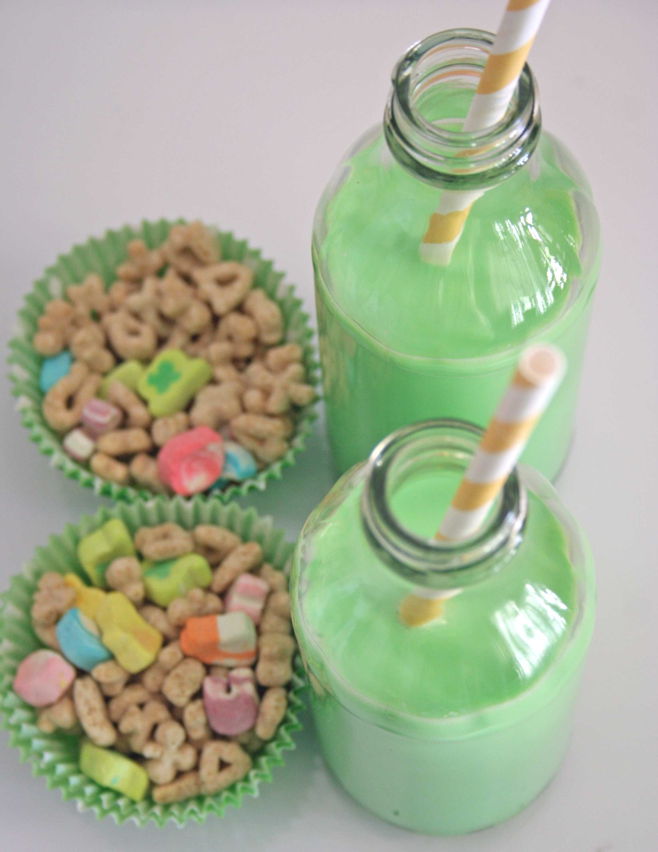 This would be a cute tradition to start. Green milk and lucky charms on St. Patr