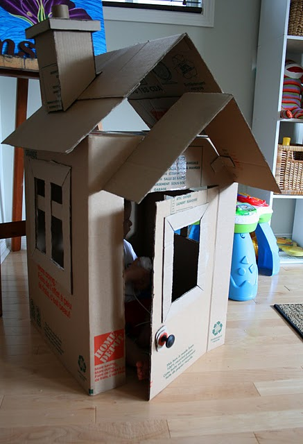 another cute cardboard box house with instructions