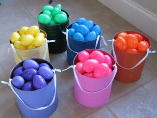 Color coordinated Easter egg hunt. You can only collect your color of egg. Stops
