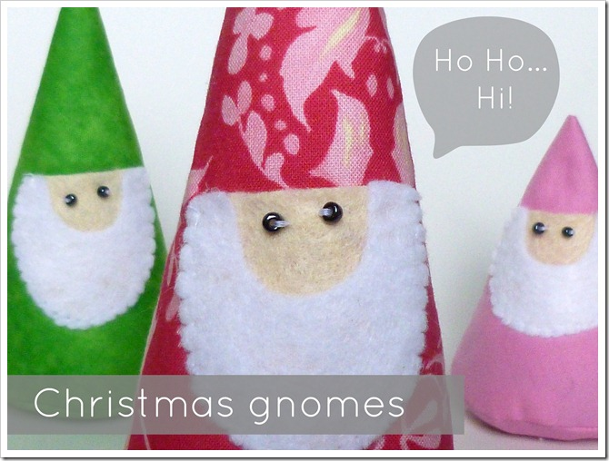 Christmas gnomes made from a really simple gnome pattern from Etsy