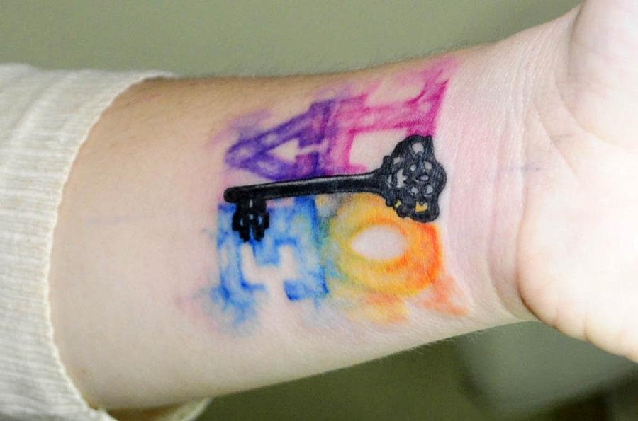 Watercolor Love tattoo