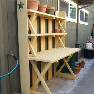 Potting bench near the front fence?