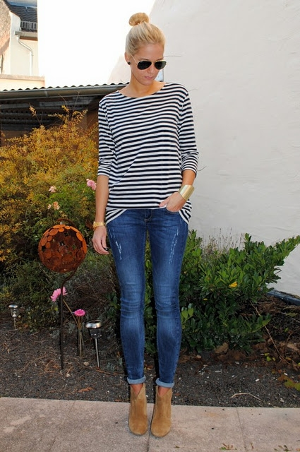 jeans and stripes.