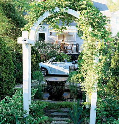 garden framing the home