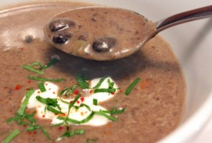 Spicy Black Bean Soup with Lime and Cilantro- Curtis Stone developed this recipe
