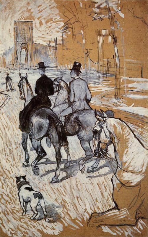 Horsemen Riding in the Bois de Boulogne – Henri de Toulouse-Lautrec, 1888    BON