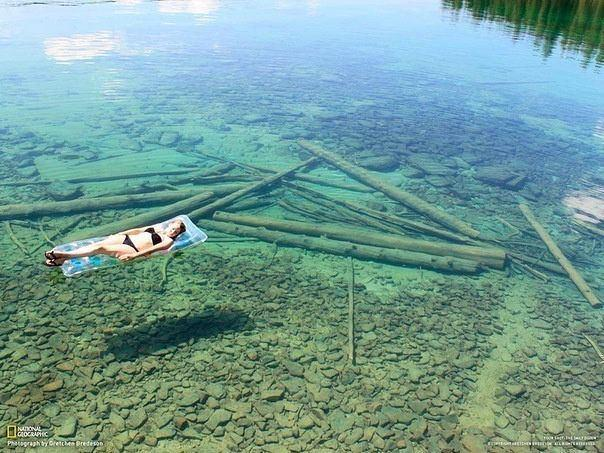 Because of the crystal-clear water, Flathead Lake in Montana seems shallow, but
