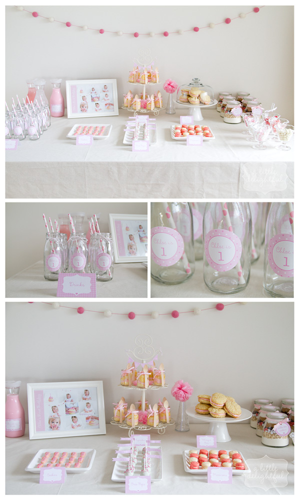 Girl's 1st birthday shower – dessert table featuring cupcakes with whipped butte