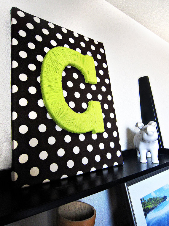 Custom Fabric Wrapped Canvas with Yarn Letter by mandyrae3883, $28.99