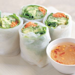cucumber avocado summer rolls – although I might add some chicken and no cuc