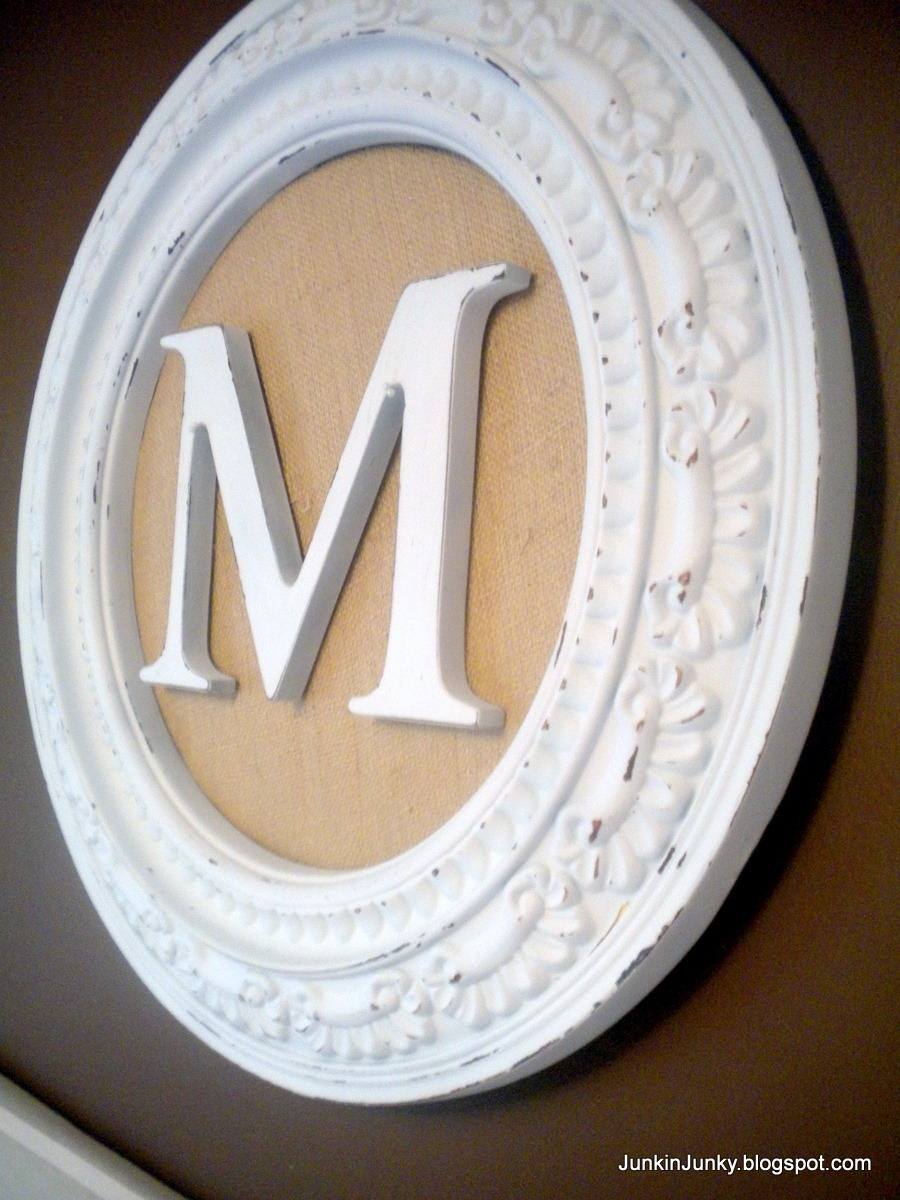 Monogram-All you need is a cute frame (or ceiling medallion), burlap or decorati