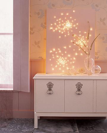 Fun holiday DIY (christmas lights poked through a canvas).