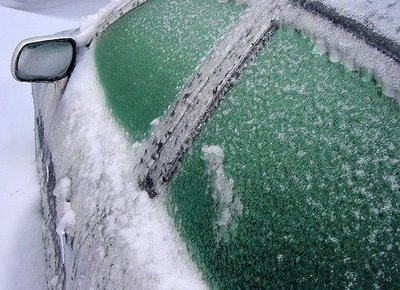 Hate scraping off ice! With 2/3 Vinegar & 1/3 water! Just spray on windows a