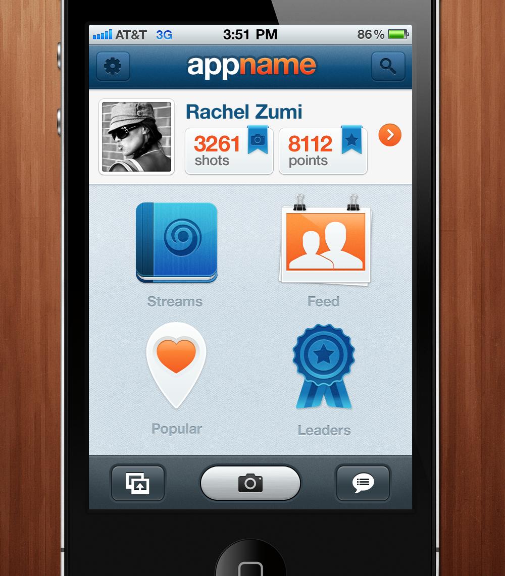 Photo stream iPhone app UI/UX Design