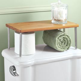 double storage with this stacking bamboo shelf- seems so obvious!