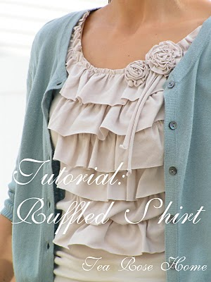 Transform a basic tee into an adorable ruffled shirt with rosettes.
