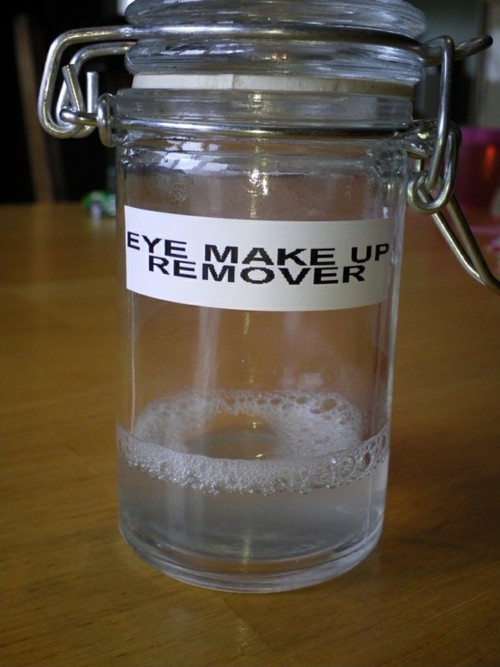 DIY Eye Make Up Remover    1 cup water, 1 1/2 tablespoons Tear Free Baby Shampoo