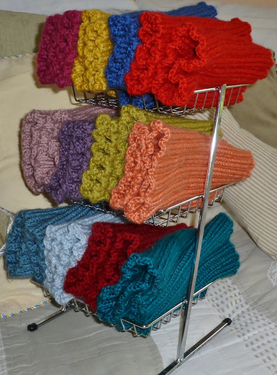 Colorful knitted boot cuffs by SticksandSkeins on Etsy, $12.00