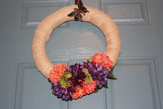 Easy Fall Burlap and Flower Wreath