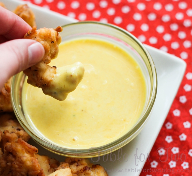 MUST TRY THIS!  Chick-fil-a sauce: 1/2 cup mayo, 2 tbsp. mustard, 1/2 tsp. garli