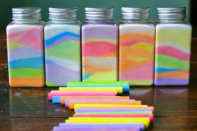 Make colored sand art by stirring a chalk stick in a bowl of salt…it changes t