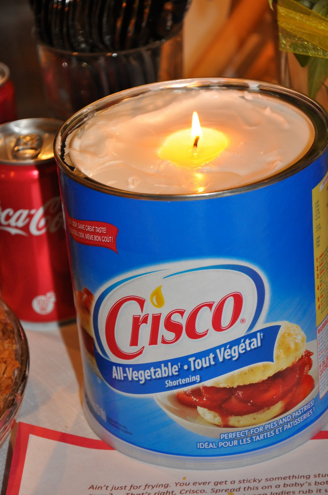 Crisco Candle for emergency situations. Simply put a piece of string in a tub of
