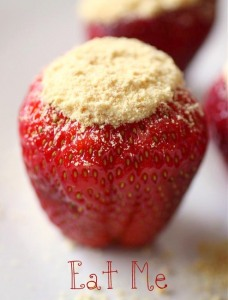 Easy way to do it…mix up the No Bake Cheesecake. Hull the strawberries (cut th
