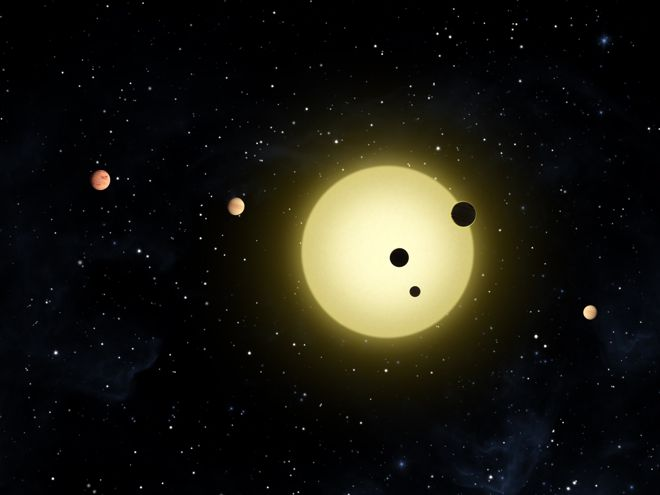 Artist concept of a previous multi-planet solar system found by the Kepler space