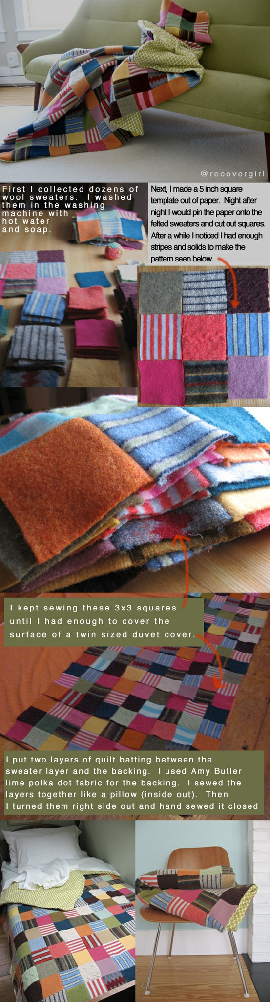 Quilt made out of old wool sweaters!  Gorgeous!