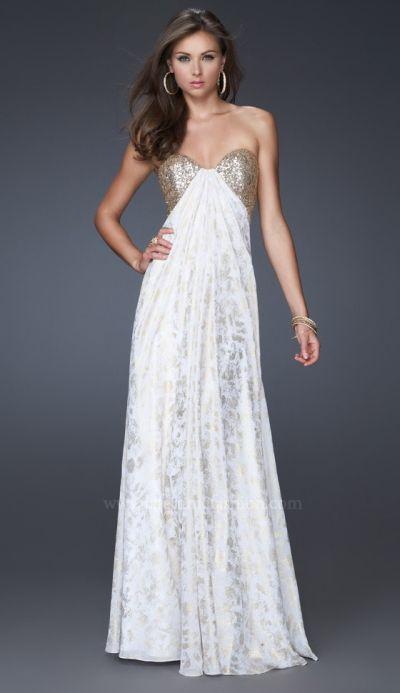 La Femme White Gold Sequin Print Prom Dress 15991