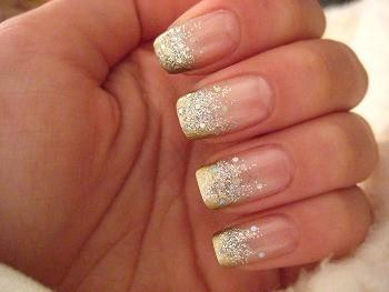 sparkly french nails