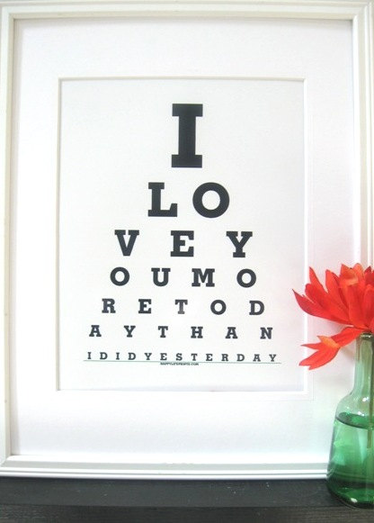 boyfriend gifts  I Love you More Today  than by Eyecharts, $15.00
