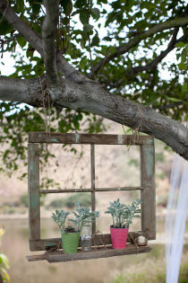 old window hanging from tree in the yard……LOVE this!