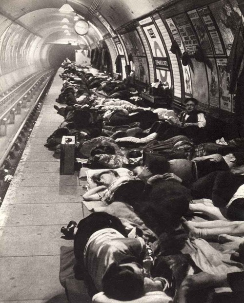 Elephant and Castle tube station in London during the height of the Blitz