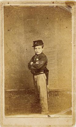 "Here is carte-de-viste of the ""Drummer Boy of Shiloh"", Johnny Clem. He"