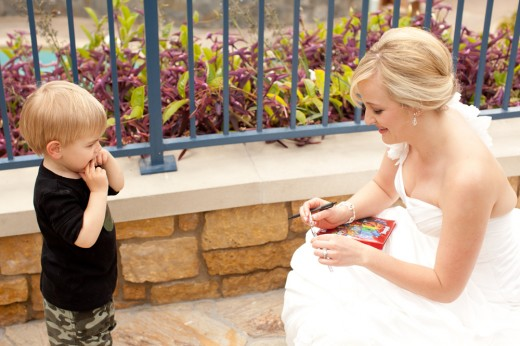 On Disneyland bride Kristie's wedding day, a tiny tot approached her with