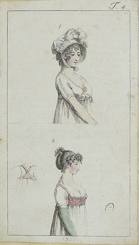 1801, English. Figure 2 shows a vest-like overbodice, front and back. Also a hai