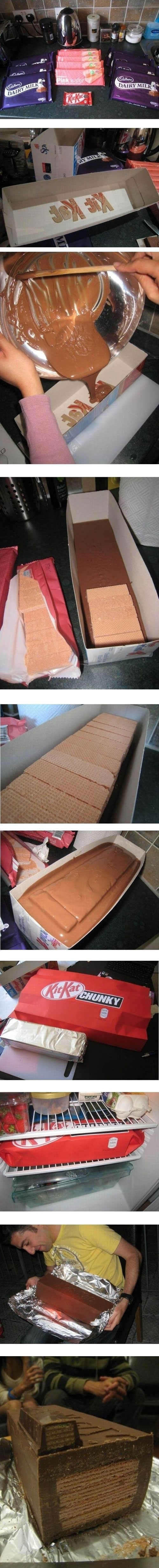 HOW TO MAKE: GIANT KIT KAT BAR ….. *gasp*  This is awesome!!  Want to make for