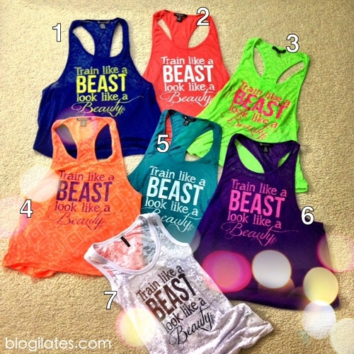 Train like a Beast, look like a Beauty.  The words only show up when you sweat s