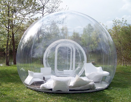Inflatable lawn tent. Imagine laying in this when it's raining or snowing.
