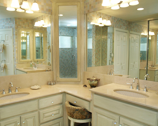 Bathroom L Shaped Vanity Design, Pictures, Remodel, Decor and Ideas