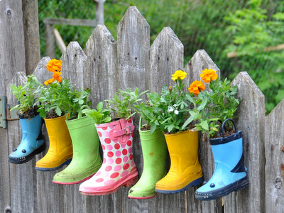 Recycling kids' rain boots make for fun container gardening