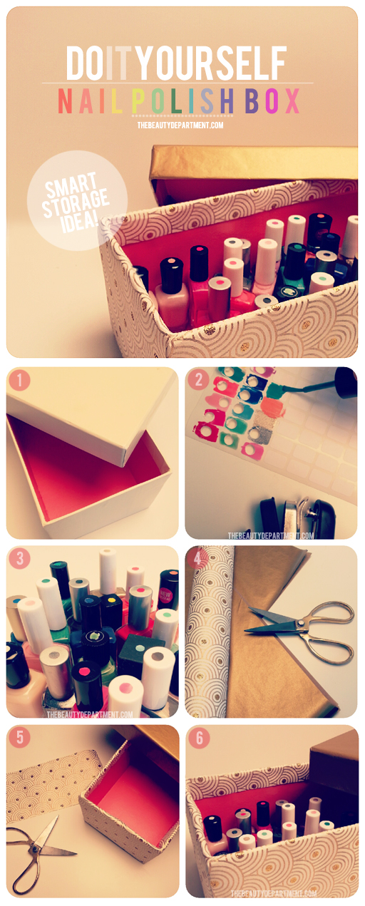 Here's a great way to store your nail polish and to be able to see each colo