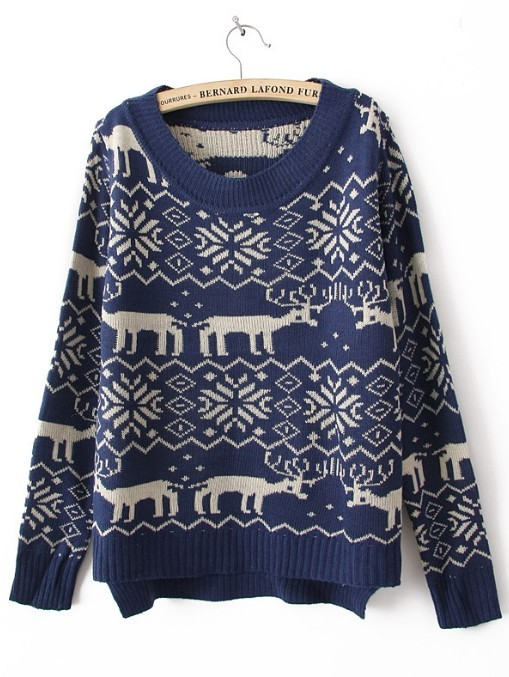 Blue Long Sleeve Deer Print Asymmetrical Sweater