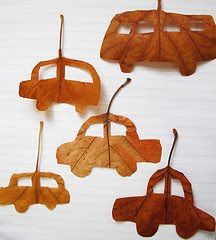 TO MAKE:: Cars from fall leaves