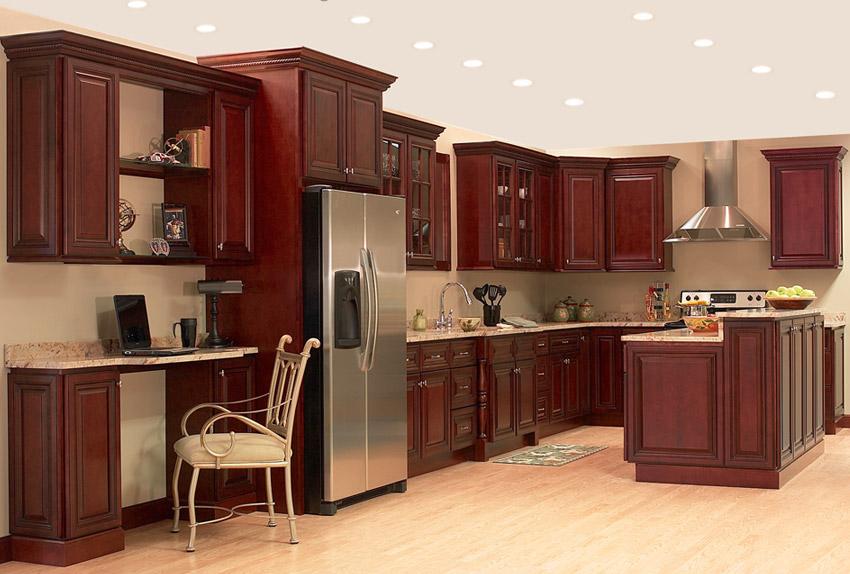 Cherry Cabinets with light hardwood floors