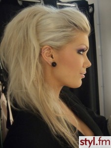 Faux hawk updo. this could be cute…